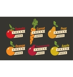 Fruits with the names of for fresh juice vector