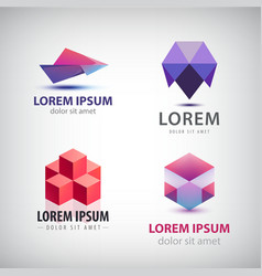 set of colorful origami logos vector image
