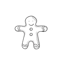 Gingerbread man sketch icon vector