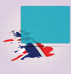 Britain map with flag inside in perspective view vector image
