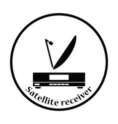 Satellite receiver with antenna icon vector