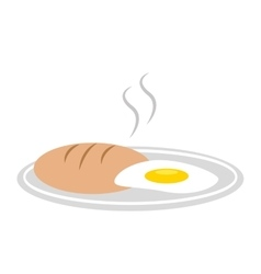 Delicious bread with egg isolated icon design vector