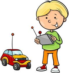 Boy and remote car cartoon vector