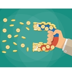 businessman hand with magnet and Gold coin vector image