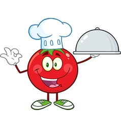 Chef Tomato Cartoon with a Platter vector image