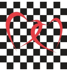 chess hearts on the chess background vector image