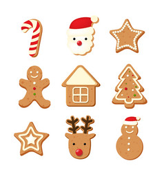 christmas color cookies vector image vector image