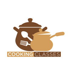 Cooking classes promotional emblem with cookware vector