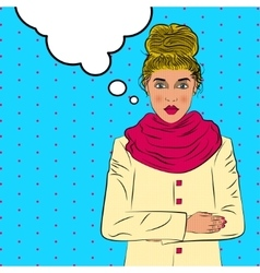 Cute young woman cold weather pop art retro style vector