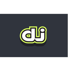Dj word text logo design green blue white vector