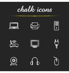 Electronic equipment chalk icons set vector