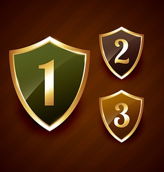 Golden ranking label badge design vector