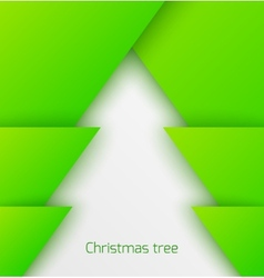 Green abstract christmas tree paper applique vector image