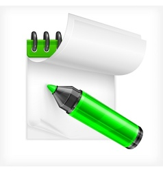 Highlighter and notebook vector image vector image