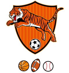 jumping tiger as sport mascot vector image vector image