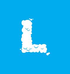 letter l cloud font symbol white alphabet sign on vector image