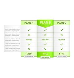 Pricing List with Recommended Option vector image