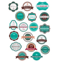 Restaurant and bakery labels in vintage style vector image vector image