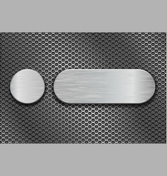 round and oval metal brushed plates on iron vector image