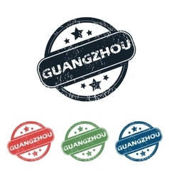 Round guangzhou city stamp set vector