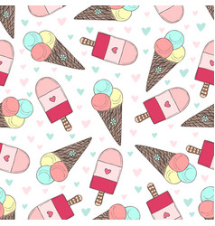 Seamless pattern with hand drawn ice creams vector