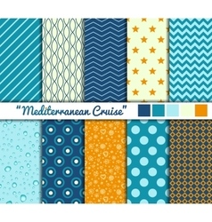 Set of 10 simple seamless patterns Mediterranean vector image
