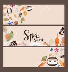 Spa salon banners with sea shells vector