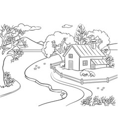Spring landscape coloring book vector