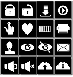 white black icons vector image