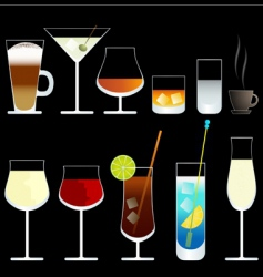 wine and cocktail glasses vector image