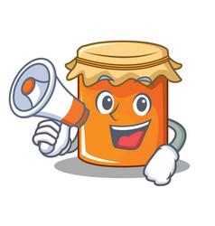 With megaphone jam character cartoon style vector