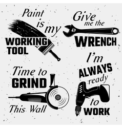 Work Tools With Quotes Set vector image