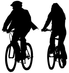 Young couple riding bicycles silhouettes vector