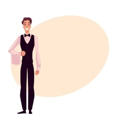 Young handsome restaurant cafe waiter in black vector