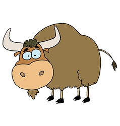 Cartoon brown yak vector