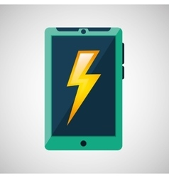 Green smartphone weather lightning icon design vector