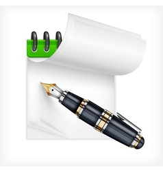 Fountain pen and notebook vector