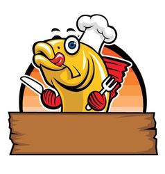 cartoon of fish chef vector image