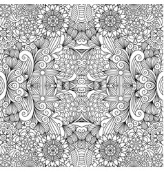 Flowers and swirls line decorative pattern vector