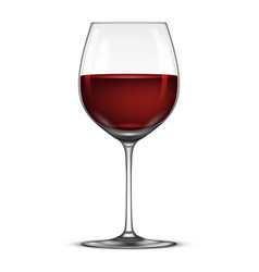 Realistic wineglass with red wine icon vector