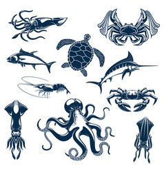 Sea fish and ocean animals isolated icons vector