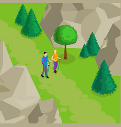 Colorful isometric hiking template vector
