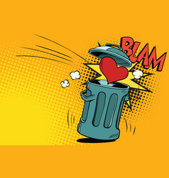 End of love heart thrown in the trash vector