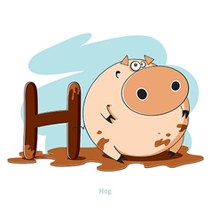 Cartoons alphabet - letter h with funny hog vector