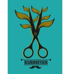Vintage label for hairdresser and barber with vector