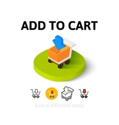Add to cart icon in different style vector