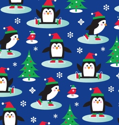 ice skating penguins vector image