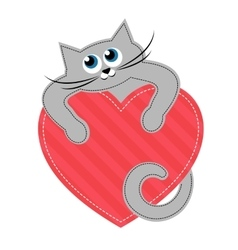 Cute cat with heart vector