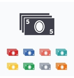 Cash sign icon paper money symbol vector
