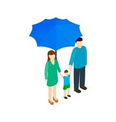 Family under umbrella icon isometric 3d style vector
